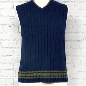 Vintage J. Crew men's 100% wool navy sweater vest